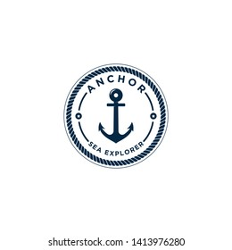 marine retro emblems logo with anchor and rope, anchor logo - vector