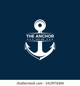 marine retro emblems logo with anchor, anchor logo - vector