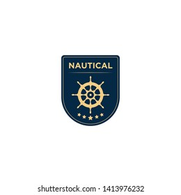 marine retro emblems logo with ship wheel  anchor logo - vector