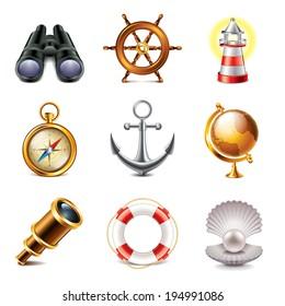 Marine retro icons high detailed vector set
