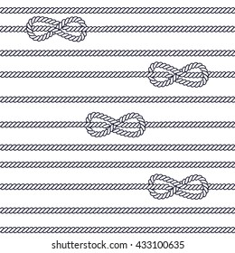 Marine rope with figure eight knot seamless background