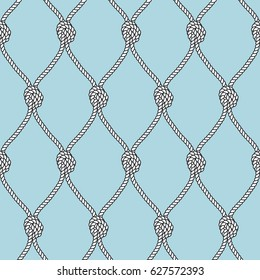 Marine rope fishnet with knots seamless vector background. Nautical repeating texture