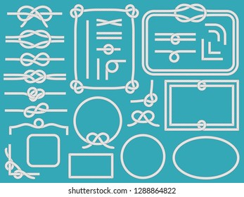 Marine rope frame. Vintage nautical sling corners, boat ropes and navy knots frames. Yacht bow node rope or nautical knot. Sailor cordage border isolated vector symbols set