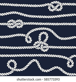 Marine rope knot seamless pattern. Endless navy illustration with white rope ornament and nautical knots on dark background. For fabric, wallpaper, wrapping. Figure 8, overhand and slip knots.