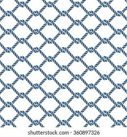 Marine rope knot seamless vector pattern. Nautical design. Navy illustration. Ocean wallpaper