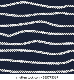 Marine rope line seamless pattern. Endless navy illustration with beige rope ornament, horizontal wavy lines on dark blue background. Trendy textured backdrop. Vector for fabric, wallpaper, wrapping