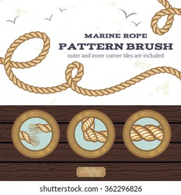 Marine rope style vector pattern brush with outer and inner corner tiles, end and start tiles. Observation windows and  wood plates texture are included too. EPS8