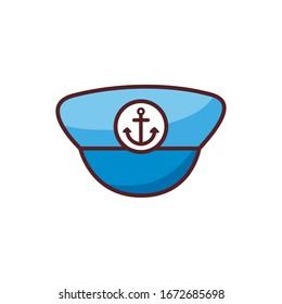 marine sailor hat line color style icon vector illustration design