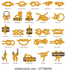 Marine or sailor knots types set. Vector isolated icons of rope hitches, bows and bends with names or titles on white background
