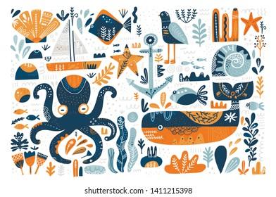 Marine scandinavian style illustrations vector set