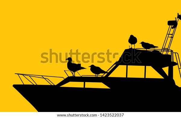 Marine scenery background with seagulls silhouettes  on a motor yacht, vector