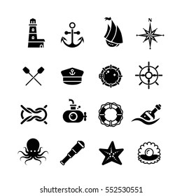 Marine, sea, nautical, pirate, maritime vector retro icons. Black white marine symbols illustration.