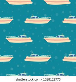 Marine seamless background with cartoon boats vector template for kids cloth, prints, gift paper. Competitions on yachts, boats on the oceanic expanses