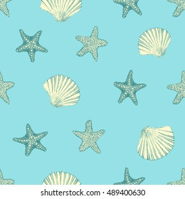 Marine seamless background from hand drawn sea shells and stars.