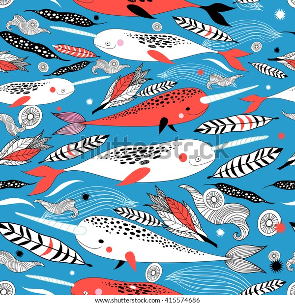 Marine seamless graphic pattern with different white whale on a blue background