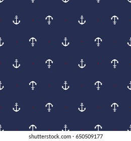Marine seamless pattern/ Anchor
