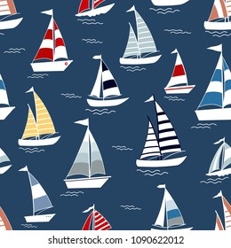 Marine seamless pattern with cartoon boats on blue background