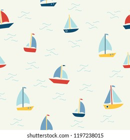 Marine seamless pattern with cartoon boats on white background. Background for boys