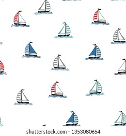 marine seamless pattern with cartoon boats and waves on white background, nautical wallpaper, scandinavian pattern for kids