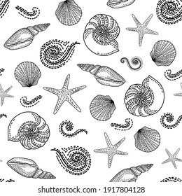 Marine seamless pattern. Contour. Coloring book. Vector sea background.