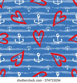 marine seamless pattern with hand drawn white large and small anchors, red hearts, textured blue stripes