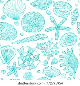 Marine seamless pattern, ornate seashells for your design. Vector illustration