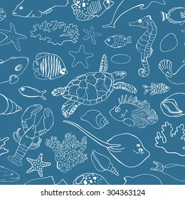 Marine seamless pattern. Picture of tropical fish, shells, corals and other marine life. Vector illustration.