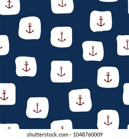 Marine seamless pattern with red anchors and white squares. Vector.