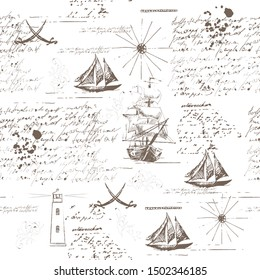Marine seamless pattern with sailboats, lighthouse and text. Vintage image. Hand drawing.