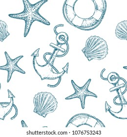 Marine seamless pattern with seashell, starfish and anchor. Vector