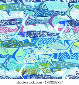 Marine seamless pattern. Sharks and other fish. For backgrounds, wallpapers, fabrics, wrapping paper, and more. Vector
