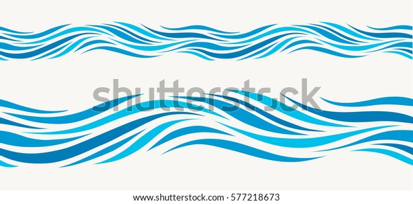 Marine seamless pattern with stylized blue waves on a light background. Water Wave abstract design.