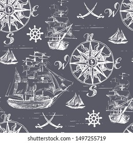 Marine seamless pattern with wind rose and sailboats. Hand drawing. Vector image.