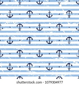 Marine seamless pattern/Stripes and the anchor pattern.