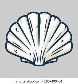 Marine seashell, sea shell, nature ocean aquatic underwater vector