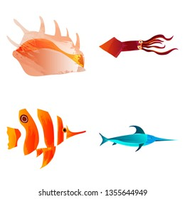 Marine set of Watercolor Vector Tropical Fish, sea shell ,squid