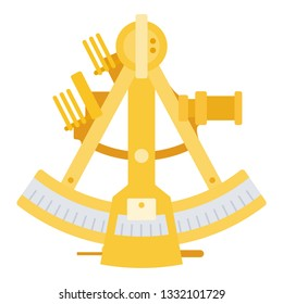 Marine sextant.Navigational tool for geodesic and astronomical observations. Sea sextant vector flat icon isolated on white
