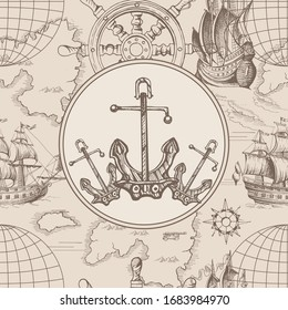 Marine ship anchors.Vector abstract seamless pattern on the theme of travel, adventure and discovery and pirates. Vintage repeating background with hand-drawn sailboats, anchors.