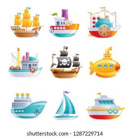 Marine ship icon set. Boat, sailship, pirate galleon, cruise, yellow submarine, motor boat, fishing trawler. 3D Cartoon water transport design. Flat vector illustration isolated on white background.