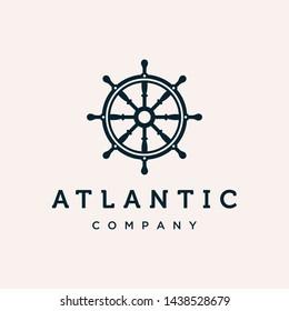Marine steering wheel vector logo design template