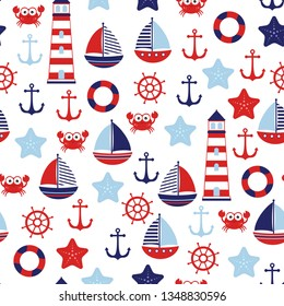 marine theme, sea travel, nautical pattern with anchor, helm, ship, lighthouse, crab, starfish and lifebuoy isolated on white