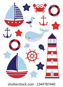 marine theme, sea travel, nautical set with anchor, helm, ship, lighthouse, crab, starfish, gull, fish, whale and lifebuoy isolated on white