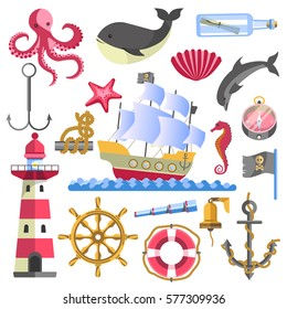 Marine theme traditional sea elements on white. Vector poster of ship on water, striped lighthouse, glass bottle with rolled paper, round lifebuoy and anchor, seafish and bell emblems logo collection