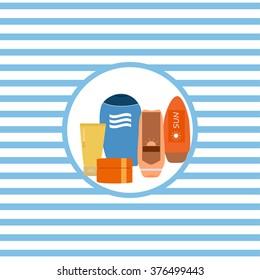 Marine theme. Vector illustration. Cosmetics for sun protection.