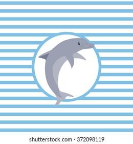 Marine theme. Vector illustration. Dolphin.