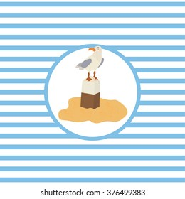 Marine theme. Vector illustration. Gull.
