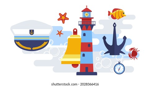 Marine themed symbols, cap of captain, beacon with light, bell and anchor for ship vessel. Timer or clock showing time, fish and crab with seastar. Animals and equipment. Vector in flat style