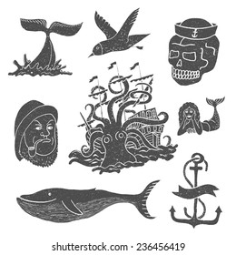 Marine themes & tattoo. Sailor. Ocean. Octopus. Whale. Skull. Anchor. Vector illustration in doodle style.