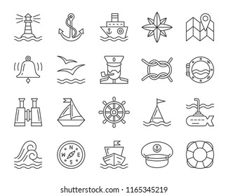 Marine thin line icon set. Outline web sign kit of nautical. Sea linear icons includes anchor, knot, wheel, rose wind. Simple marine black contour symbol isolated on white. Vector Illustration