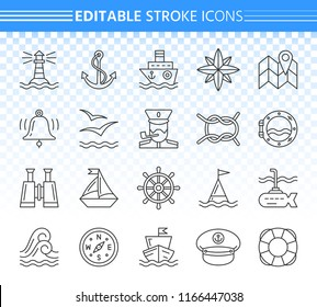 Marine thin line icons set. Outline web sign kit of nautical. Sea Knot linear icon collection includes anchor, window, captain hat. Editable stroke without fill. Marine simple contour vector symbol